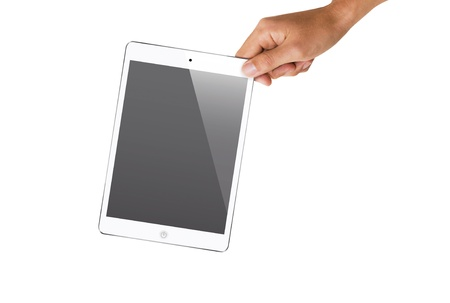 isolated hand holding tablet, to replace screen with images  Stock Photo - 18652294