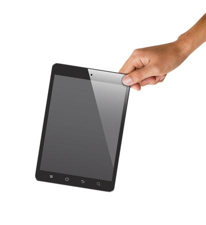 Geïsoleerde hand houden tablet, om het scherm te vervangen door beelden Stockfoto - 18652300