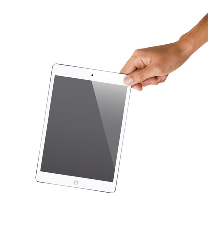 isolated hand holding tablet, to replace screen with images Stock Photo - 18652305