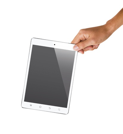 isolated hand holding tablet, to replace screen with images  Stock Photo - 18652307