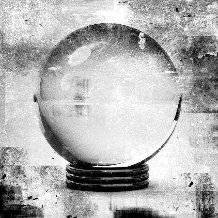 グランジ スタイルのイラスト、将来予測の概念のために水晶玉。