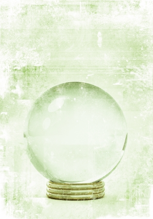 prediction: crystal ball in grunge style illustrations, for future prediction concepts. Stock Photo