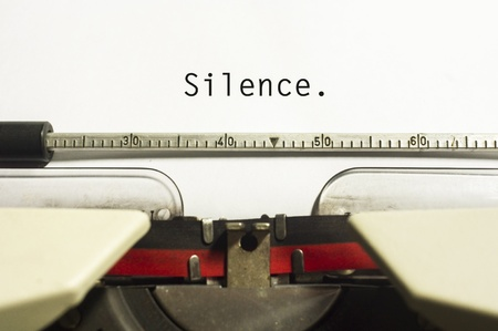 tolerance: silence message is typed on typewriter, for conceptual background. Stock Photo