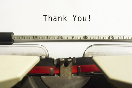 typewriter: thank you message on typewriter paper, for appreciation concepts. Stock Photo