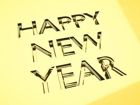happy new year message in engraving, for celebrations concepts or cards greetings. Stock Photo - 21263325