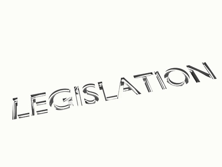 legislation: engraved legislation words on metal surface, for related concepts.
