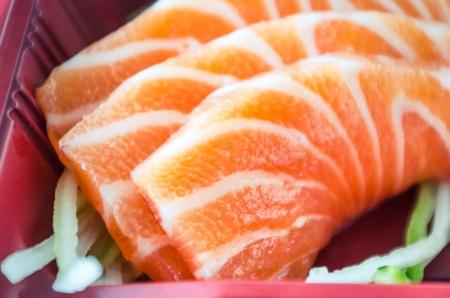 Japans eten, zalm in bento box. Stockfoto - 23117130