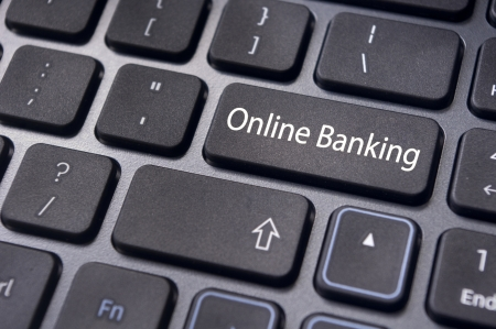 banking information: keyboard enter key with message, for online or internet banking concepts.