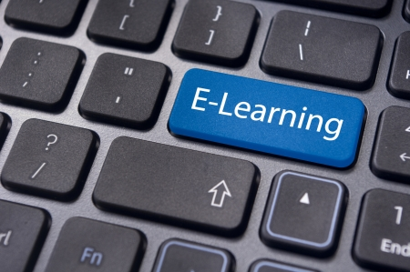 virtual classroom: Concepts of E-learning, for computer based learning, with a message on enter key of keyboard.