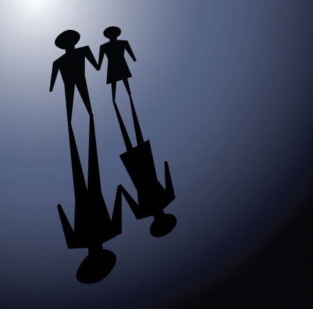 overcome: illustrations of couple in darkness, convey facing or overcome relationship problems together.