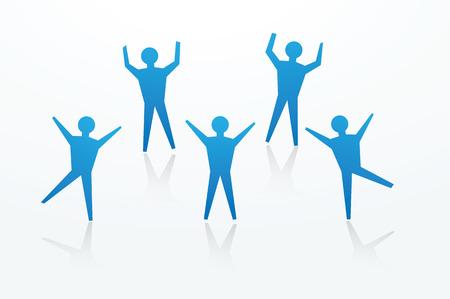 Papier man uitsparingen in het dansen en te juichen vormen, om gelukkig te nieuws te illustreren. Stockfoto - 24190559