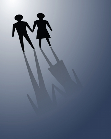 to commit: illustrations of couple in darkness, convey facing or overcome relationship problems together.