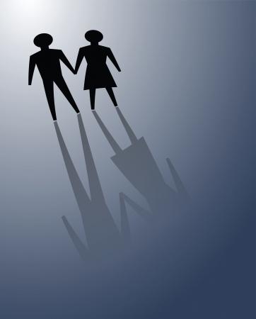 Illustraties van paar in de duisternis, over te brengen naar of samen te overwinnen relatieproblemen. Stockfoto - 24190601