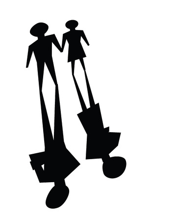 ignoring: illustrations of broken relationship, couple shadow was ignoring each other. Illustration