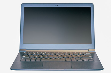 isolated thin ultrabook laptop with two clipping paths, one for laptop one for screen.