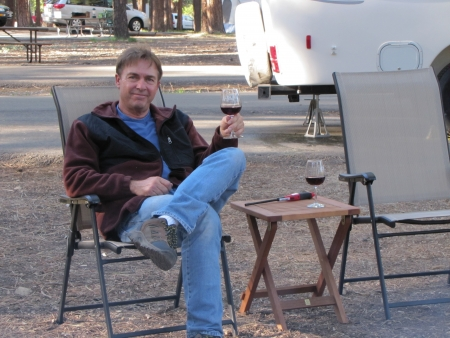 Dad on vacation with wine