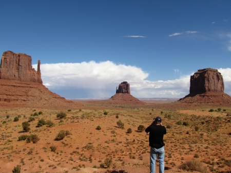 Man taking pictures in Monument Valley