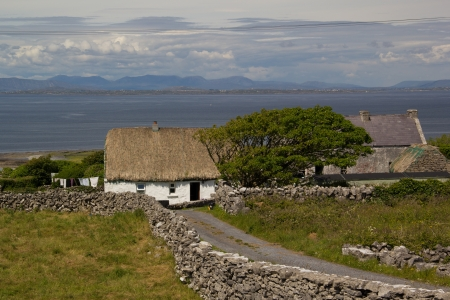 thatched roof irish cottage
