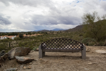bench with desert view