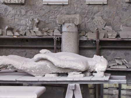 plaster cast of pompeii victim