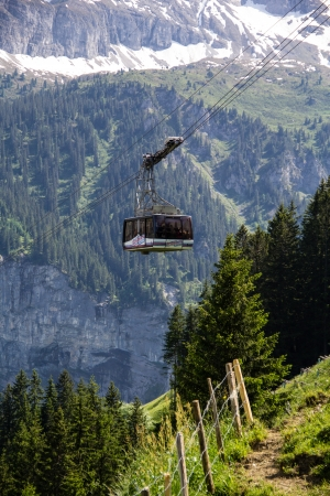 cable car between stechelberg and gimmelwald switzerland