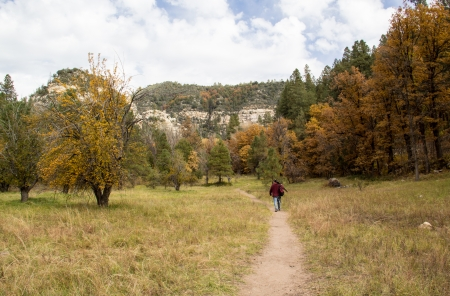 walking trail in Oak Creek canyon near sedona with fall colors