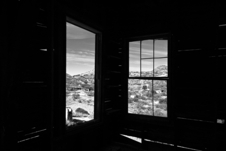 Looking out of windows on the ghost town of Ruby, Arizona