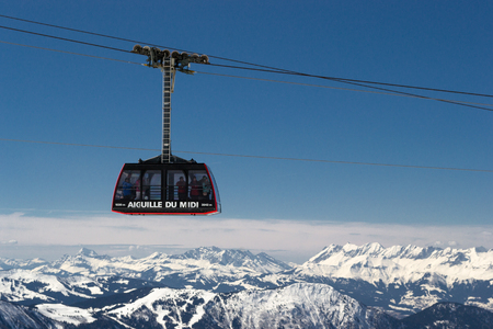 Cable car ride from Aiguille du Midi, Chamonix, France Stock Photo