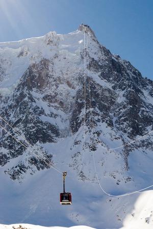 Gondola ride to the top of Aiguille du Midi, France Stock Photo