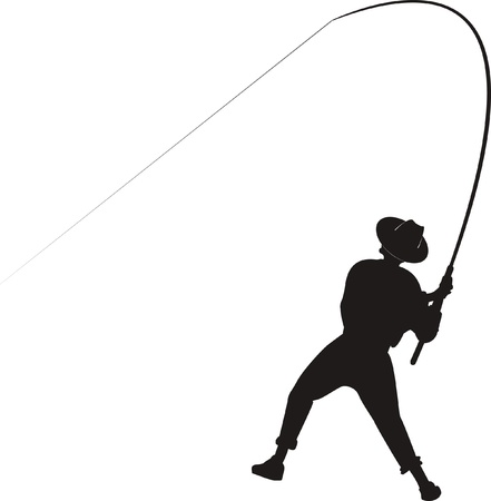 anglers: angler catching fish Illustration