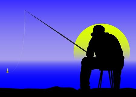 夜明けに釣り人