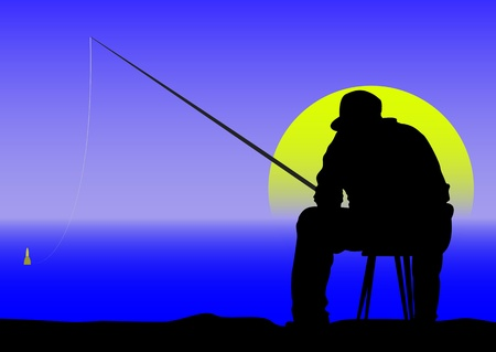 angling rod: angler at dawn