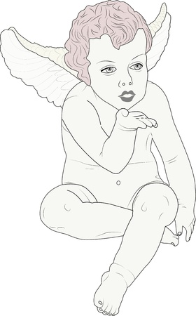 amor: cherub giving a kiss Illustration