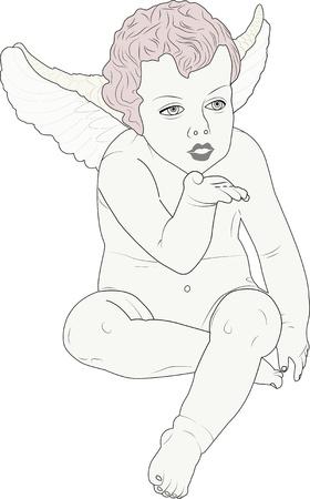 eros: cherub giving a kiss Illustration