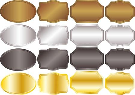 label: banners metallic achtergronden goud zilver Stock Illustratie