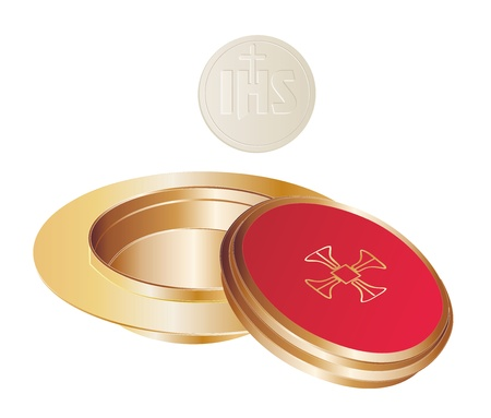 liturgy: isolated golden paten and wafer