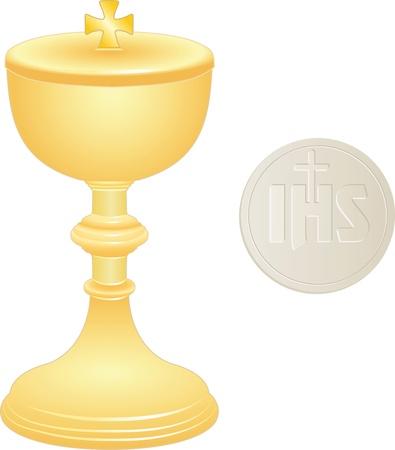 eucharistie: le calice d'or et galette avec une croix