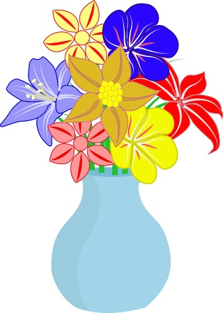 glass vase: bouquet of flowers in vase Illustration