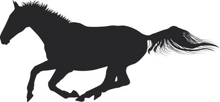 galope de caballos Silueta Ilustración de vector
