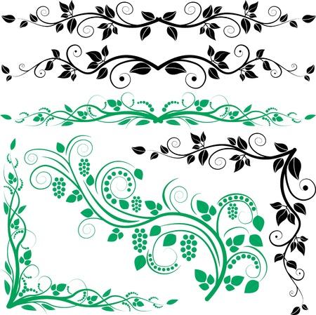 esquineros de flores: planta de la decoraci�n y las esquinas Vectores