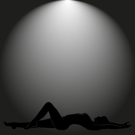 nude female figure: woman lying on a black background Illustration