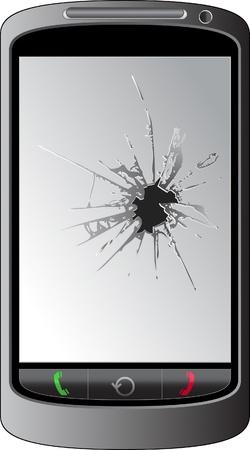 portable radio: Cracked pantalla del tel�fono
