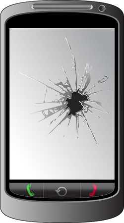 phone handset: Display del telefono Cracked Vettoriali