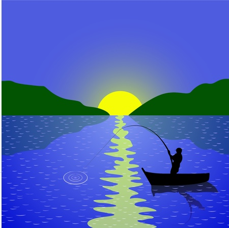 sunset lake: angler on the boat