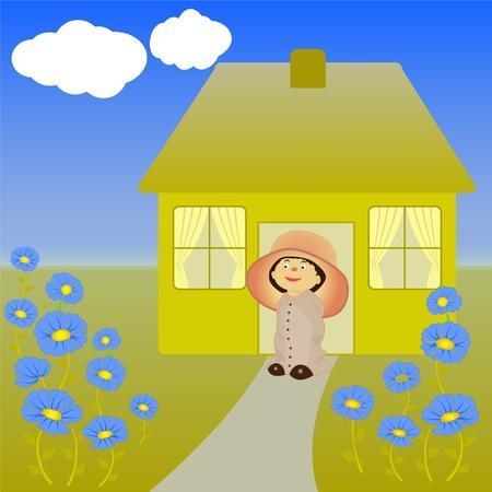 small house with garden Stock Vector - 11276837
