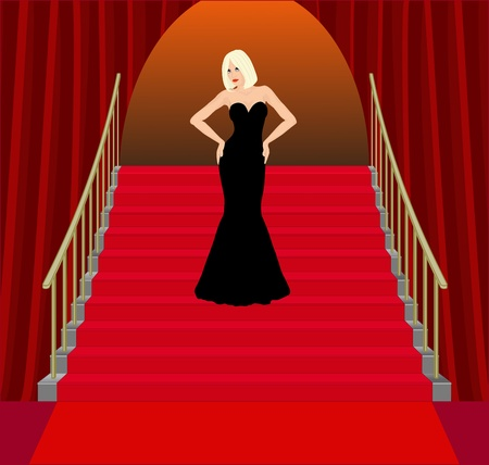 woman stairs: young woman on red stairs Illustration