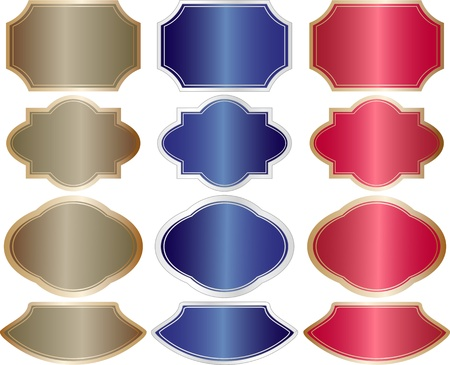 metallic banners red blue brown Stock Vector - 11455149