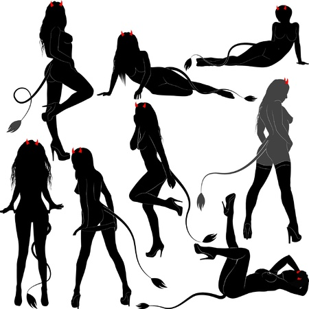 silhouette women sexy devils Illustration