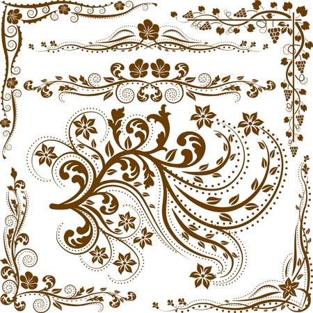 Decoratieve hoeken en ornamenten Vector Illustratie