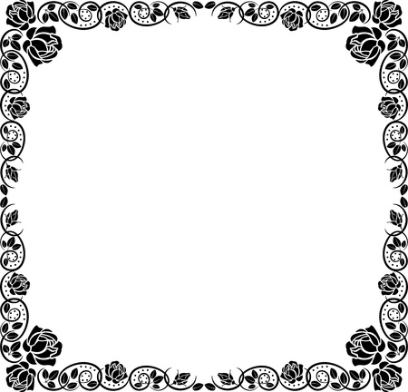 silhouette border with rose decoration  Illustration